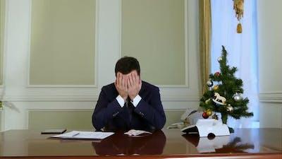 Failed Businessman Losing Money Before Christmas