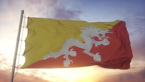 Flag of Bhutan Waving in the Wind Sky and Sun Background