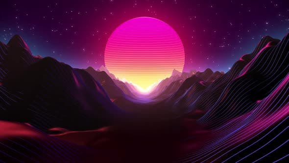 Thumbnail for 80s Retro Sunset and Terrain Brackground