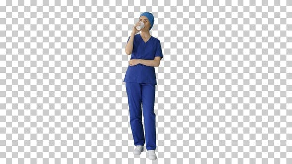 Thumbnail for Smiling female doctor or nurse in blue, Alpha Channel