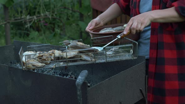 Thumbnail for Close up of woman hands put cooked grilled fish on plate. Family on bbq picnic at summer cottage