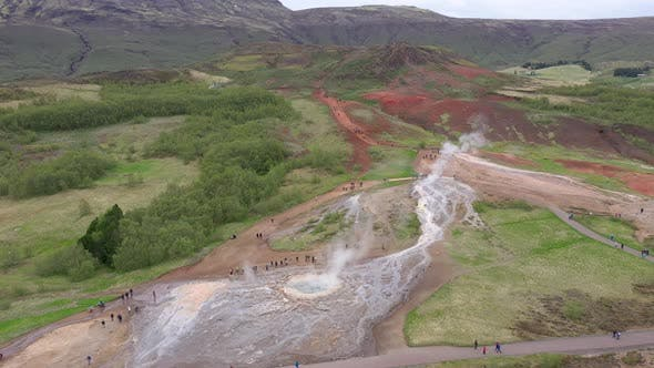 Thumbnail for Flying Above Strokkur Geysir in Iceland