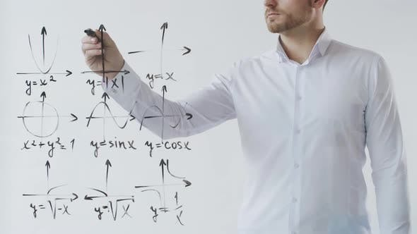 Thumbnail for Man Drawing Different Diagrams on Transparent Wall