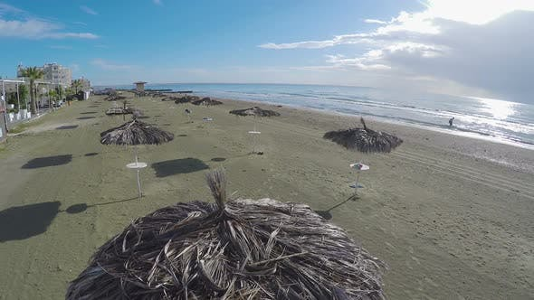 Thumbnail for Larnaca City, Aerial View Above Sandy Beach with Straw Parasols, Cyprus