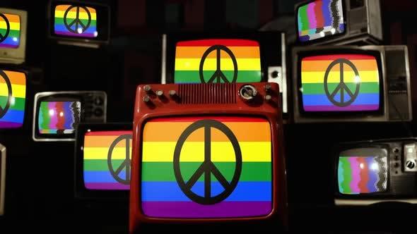 Thumbnail for Friedensprotest Schild und Retro-TVs.