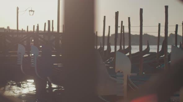 Thumbnail for Venice Scene with Gondolas Mooring, Italy