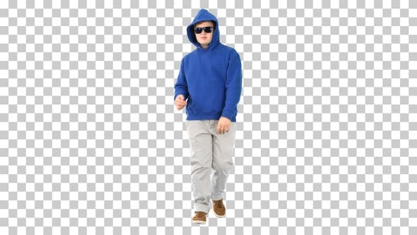 Thumbnail for Casual boy in sunglasses walking and dancing, Alpha Channel
