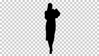 Silhouette woman shopping, Alpha Channel