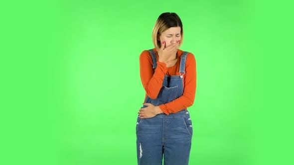 Thumbnail for Cute Female Feels Bad, Her Stomach Hurts, Feeling Nausea. Green Screen