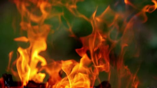 Bright fire and flames burn in hot fireplace