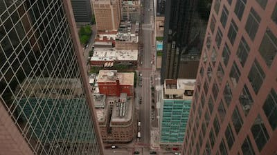 Aerial View of Street Downtown