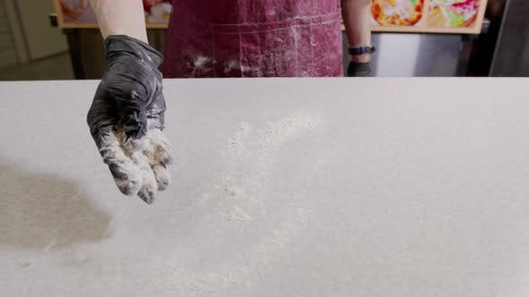 Thumbnail for Flour Falling From Hand in  Slow Motion. Close-up of Making and Prepares Flour for Homemade Bakery