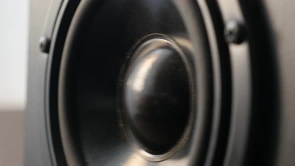 Thumbnail for Vibration of  bass speaker membrane close-up 4K 2160p 30fps UltraHD footage - Playing low frequency