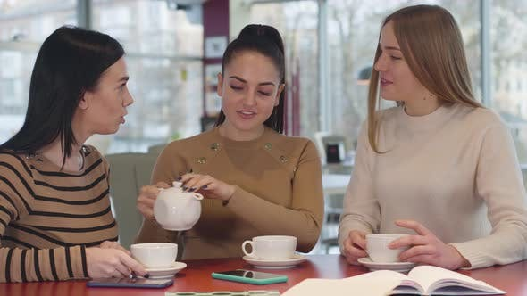 Cover Image for Young Brunette Caucasian Woman Pouring Tea Into Cups and Talking with Female Friends. Three