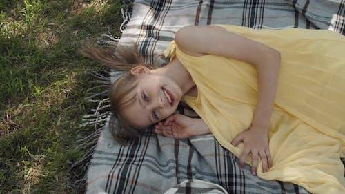 Joyful Girl In Park