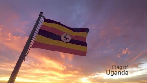 Uganda Flag on a Flagpole V3
