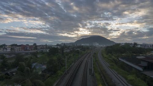 Timelapse transportation railway in the colorful sunrise