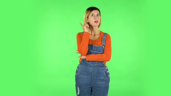 Thumbnail for Woman Thinks About Something. Green Screen