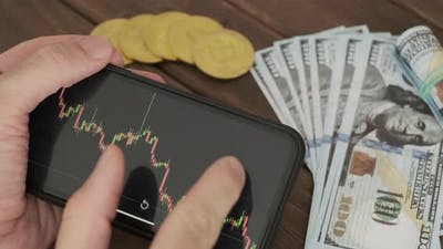 Man Analyzes the Graph of the Cryptocurrency Rate
