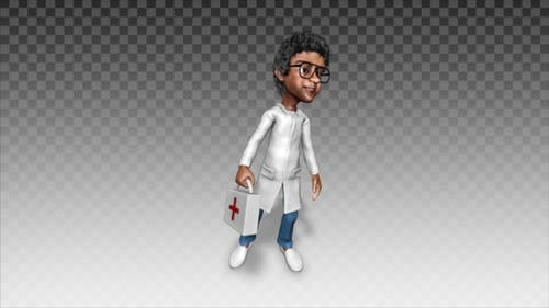 Cartoon Arzt warten Patienten V1