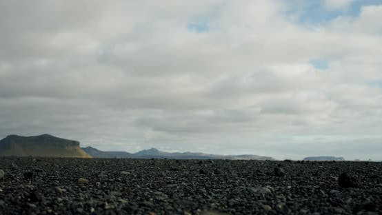 Thumbnail for Iceland Landscape, Black Stones on a Background of Mountains Travel, Adventure,future Concept