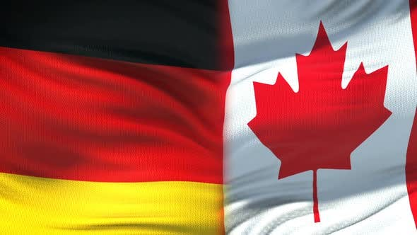Thumbnail for Germany and Canada Handshake, International Friendship Relations Flag Background