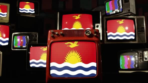 Kiribati flag on Retro TVs.