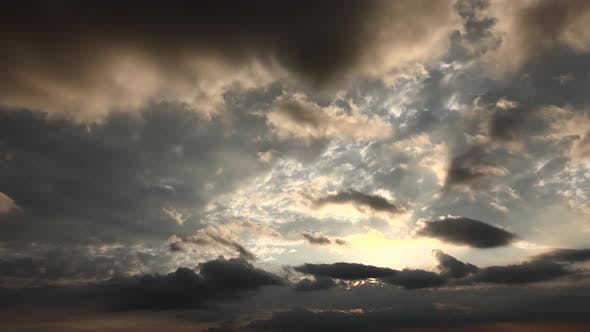 Mixed Cloudy Sky at Sunset in the Afternoon