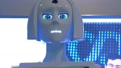 Speaking robot promoter at Robotics Expo