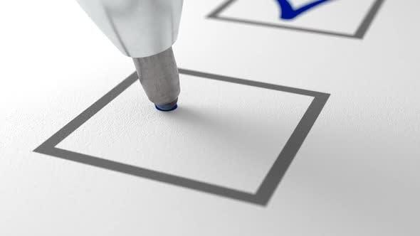 Thumbnail for Blue Ballpen Writing Blue Check Mark on White Checklist