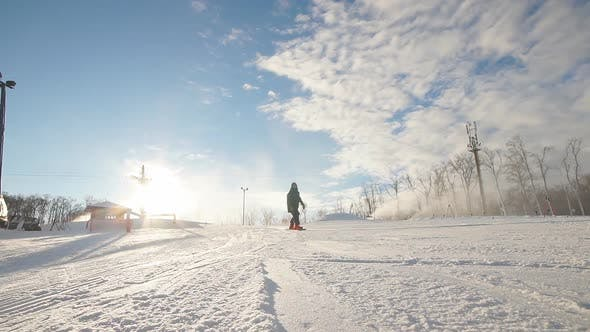 Thumbnail for Fearless Snowboarder Is Riding Fast