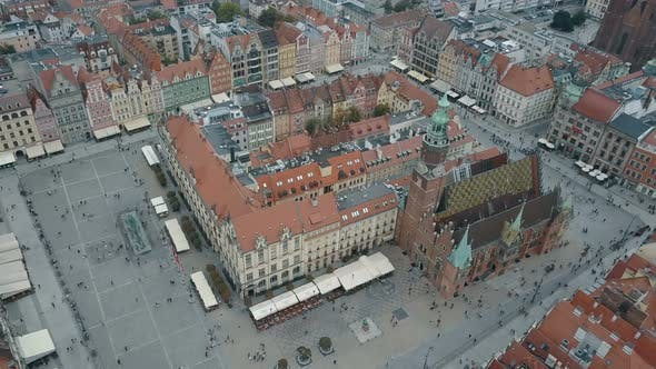 Aerial View of Wroclaw City. Beautiful, Old Town. Crowded Market Square of a Big, Polish City.