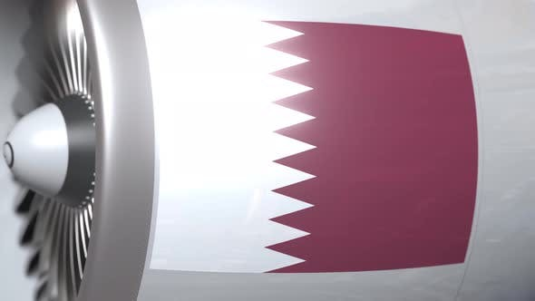 Thumbnail for Airplane Engine with Flag of Qatar