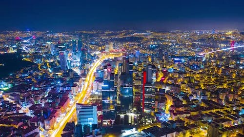 The Architecture of the Big City at Night Time Panorama