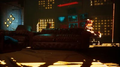 Sci Fi Futuristic Interior with Neon Lights