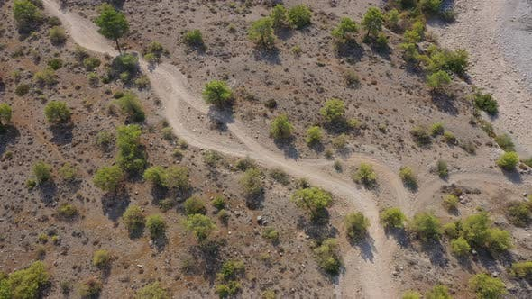 Cover Image for Aerial View Sandy Desert Road