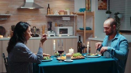 Lovers Eating Healty Food at Dinner