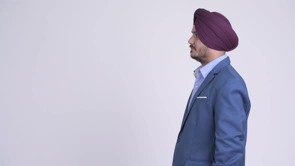 Thumbnail for Profile View of Bearded Indian Sikh Businessman