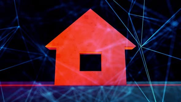 Thumbnail for Digital Home Safety Icon in Digital Cyber Space 4k