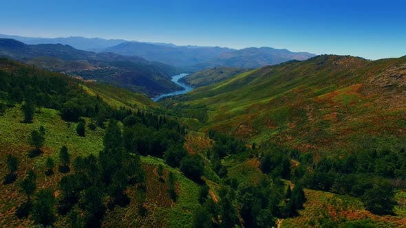 Thumbnail for Aerial View Of River Valley In Portugal
