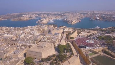 Aerial view of the Valletta city celebrating Labour party.