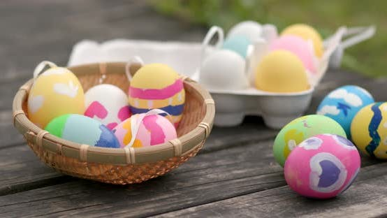 Thumbnail for Colorful Easter holiday egg at outdoor