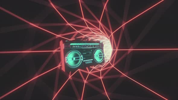 Thumbnail for Retro 80s VJ Loop With Music Boom Box