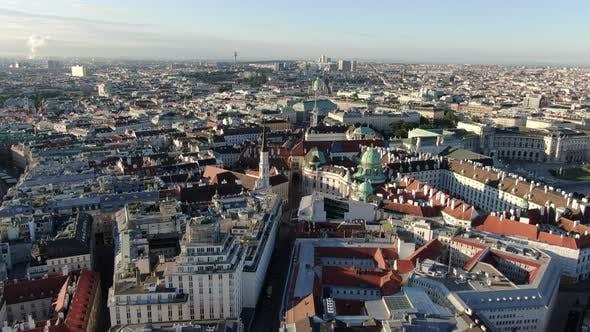 Aerial shot of Vienna, capital of Austira, Europe