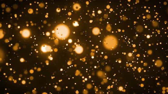 Thumbnail for Animation of glowing gold spots of light moving in hypnotic motion on brown background