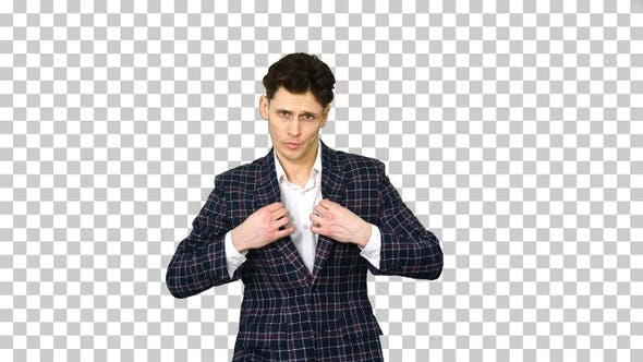 Thumbnail for Man in formal business suit walks in and, Alpha Channel