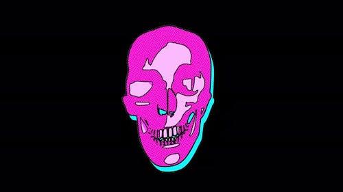 4K Abstract cartoon skull with alpha