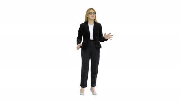 Smiling Businesswoman Explaining Something Emotionaly on White Background