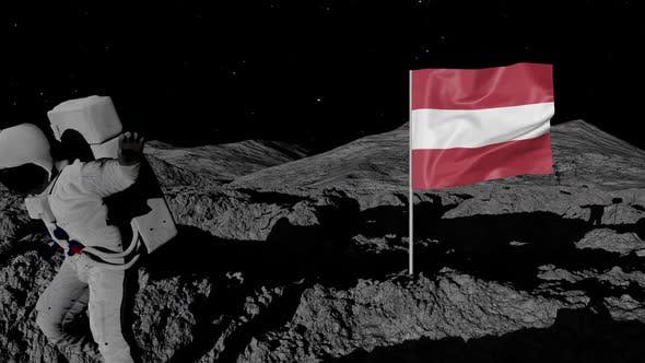 Thumbnail for Austria Flag on Moons Surface With Floating Astronaut