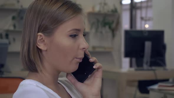 Businesswoman Has Negotiation By Phone